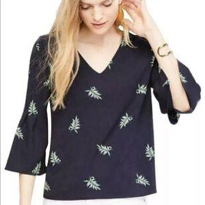 Ann Taylor  Tropical Leaf Print Bell Sleeve Top